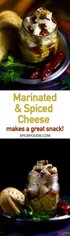 Marinated and Spiced Feta Cheese  | #cheeseplate #appetizer