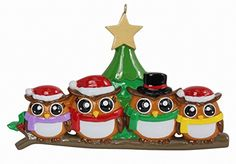 Personalized Ornament Owl Family of 4