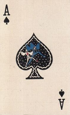 Single Swap Playing Card VINTAGE LINEN ACE OF SPADES TERRIER AND SCOTTIE DOGS