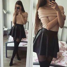 Tights, leather skater skirt, off the shoulder top