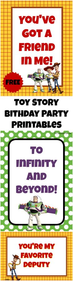 Free Toy Story Party Printables - cupcake topers, gift tags, signs, food labels and more to make your Toy Story Birthday Party a success.