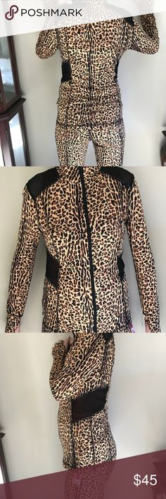 Leopard print activewear leggings and jacket Material Girl Leopard print activewear leggings and jacket. Leggings XL runs small. Jacket is large. Material Girl Other