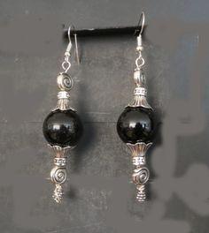 "Pair of Chic Earrings, Tibetan Silver With Black Onyx Bead , 3"""