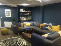 Farrow and ball stiffkey blue living room with mustard colour pops Living Room Decor Curtains, Living Room Paint, Living Room Grey, Blue Lounge, Blue And Mustard Living Room, Stiffkey Blue, Dark Blue Walls, Yellow Walls, Living Room Color Schemes