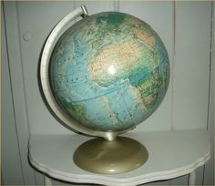 Vintage AQUA REFERENCE GLOBE - Rand McNally Portrait Globe on champagne base - Midcentury Modern World Globe ExCELLENT