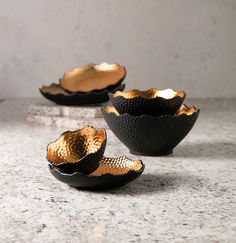 Nova Decorative Bowls and Trays - A pairing of rich gold and matte black finishes add elegance and mystique to this set Nova bowls and trays. Mid Century Modern Decor, Bowl Set, Trays, Matte Black, Serving Bowls, Decorative Bowls, Nova, Tableware, Dinnerware