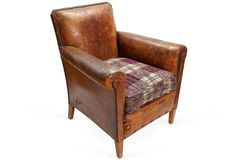 Brown Leather Club Chair - Silhouette View
