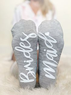 """ask """"Be My Bridesmaid"""" with these adorable socks! These custom bridesmaid socks feature grippy text on the bottom in your choice of color. These cozy socks feature tags asking bridesmaids to be in your wedding. Bridesmaid Socks, Bridesmaid Proposal Gifts, Be My Bridesmaid, Bridesmaids, Bachelorette Invitations, Bachelorette Party Themes, Grey Bridal Parties, Wedding Socks, Grip Socks"""