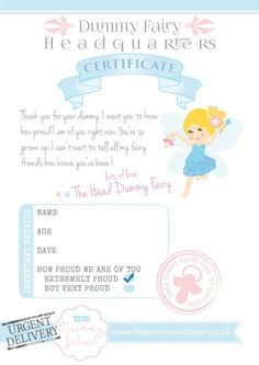Dummy Fairy Certificate - Print your own, downloadable, personalised | eBay