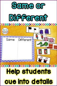 Help students cue into details and differences with this hands on sort. There are ton of cards to practice with! This set is perfect for task boxes, self-contained classrooms, life skills programs, students with autism, and students who need hands on practice.