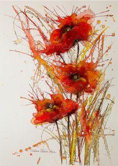 """Poppies"" by Ivelina Vladimirova. watercolor                                                                                                                                                                                 More"