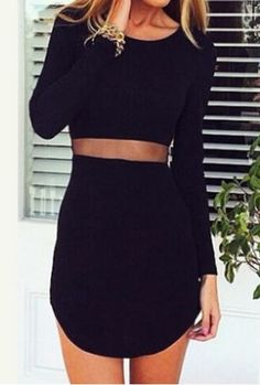 Waist Sheer Black Dress at Lookbook Store