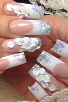 Nails wedding #slimmingbodyshapers The key to positive body image go to slimmingbodyshapers.com for plus size shapewear and bras Bling Nails, 3d Nails, Beautiful Nail Art, Gorgeous Nails, Stylish Nails, Trendy Nails, Great Nails, Cute Nails, French Nails Glitter