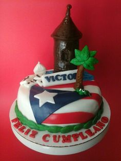 Puerto rico fondant cake Healthy Lunches For Work, Work Lunches, Puerto Rico, Comida Boricua, Flag Cake, Puerto Rican Culture, Lechon, Pork Roast, Themed Cakes