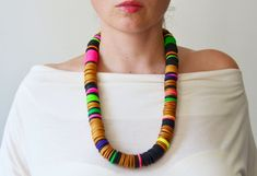 SALE African Jewelry, Chunky Necklace, Multicolored Necklace, Gold Necklace, Neon Necklace, Extravagant Necklace on Etsy, $58.36