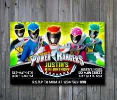Power Ranger Invitation Power Ranger by ONOinvitation on Etsy
