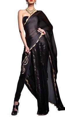 Black Half Pleated Chiffon Saree   Strandofsilk.com - Indian Designers