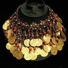 Antique Ottoman Islamic Necklace; 42 solid 22k gold coins and coral