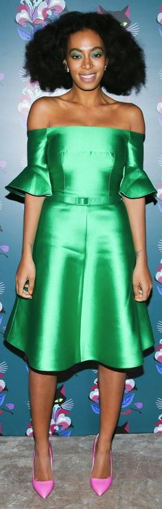 Solange Knowles s Miu Miu Women s Tales Edition Spark Light Screening  Carven Resort 2014 Green Off The Shoulder Satin Dress 9af9fa7a7e24