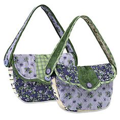 Vintage Violets Handbags..  Simple to make these handbags have a Dresden Plate style flap with a single button closure. The bag has inside pockets that are perfect for cell phones, lipstick, keys and other small items. Make 2, give one as a gift and keep the other one for yourself! ..FREE PATTERN
