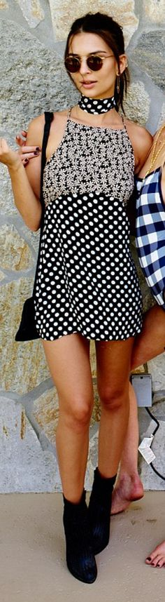 Who made Emily Ratajkowski's black polka dot dress and ankle boots? Black Polka Dot Dress, Polka Dots, Cristina Ferreira, Emily Ratajkowski Style, Celebrity Style Casual, Wearing Black, Dress To Impress, Street Style, Clothes For Women