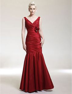 Minus the flower  Military Ball/Formal Evening/Wedding Party Dress - Burgundy Plus Sizes Trumpet/Mermaid V-neck/Straps Floor-length Taffeta – USD $ 89.99