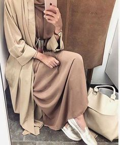 neutral abaya tones with slip on shoes
