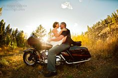Harley motorcycle trash the dress | Fall in Colorado | Autumn Cutaia Photography