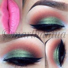 Green eye makeup- @marthamua