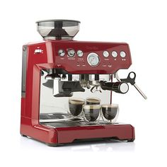 Breville ® Red Barista Express ™ Espresso Machine - Crate and Barrel Cappuccino Maker, Espresso Maker, Coffee Maker, Home Espresso Machine, Espresso Machine Reviews, Best Espresso, Espresso Coffee, Coffee Bars, Barista