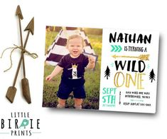 WILD ONE Birthday invitation for boy includes sweet arrows and outdoor feel with golds and mints and black, perfect for your wild one party!  The best part is that its a digital file so you can print as many as you like, or go green and send your invitation via email. Print 1, print 1000! Full premium pack and other printables to match: https://www.etsy.com/shop/littlebirdieprints?ref=hdr_shop_menu&search_query=wild+one  Photography credit: Southern Gypsy Photography  HOW TO ORDER  1) Choose…