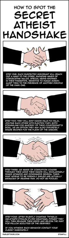 secret atheist handshake...shhh, don't tell!  ;)