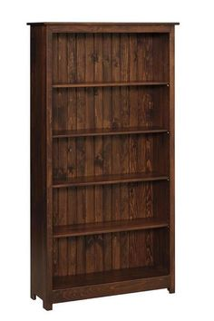 Amish Pine Wood 6' Book Case Shiplap back creates a rustic look. Shelves are adjustable. Choice of finish, paint or distressing. Made of solid pine. #DutchCrafters
