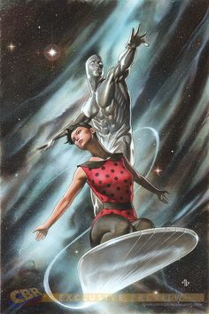 The Silver Surfer by Adi Granov. The Surfer can carry passengers on his board at warp speeds,through space warps,and into outer reaches of space without harm to said passengers.