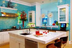 Glimmer glass mosaic tile for bathroom backsplash, maybe accent on shower? So pretty! colorful coastal bright #blue