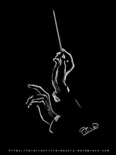 Mains du chef d'orchestre et baguette peinture au pastel sec. Conductor hands painting : Peintures par je-peins-la-lumiere