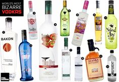 Bizarre flavoured vodkas, including PB, Bacon and Smoked Salmon.