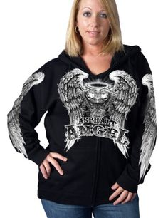 Hot #Leathers Black Large Asphalt Angel Ladies Zip Hoodie has an asphalt angel motor halo and wings in a bright screen print on the front and angel wings on both...