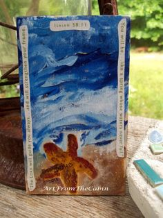 Original Acrylic Inspirational Beach Painting  by ArtFromTheCabin