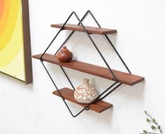 We love multipurpose for apartment living. These MCM shelves are both storage, and art! The open concept helps us stay neat and orderly. Mid Century Modern Decor, Mid Century Modern Furniture, Mid Century Design, Teak Furniture, Vintage Furniture, Furniture Design, Mid Century House, Vintage Design, Mid-century Modern