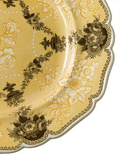 Yellow - the rarest transferware transferware color, is also the priciest. This exquisite oval platter, Ridgway's Etruscan Festoon, is valued at Antique Dishes, Vintage Dishes, Antique China, Vintage China, Kitsch, Art Nouveau, China Patterns, Shades Of Yellow, Mellow Yellow