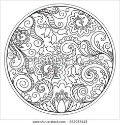 Hand drawn tangled flowers in the circle. Image for adult coloring books, decorate plates, porcelain, ceramics, crockery.