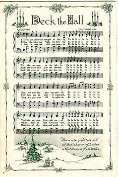 Deck the Hall Christmas Carol sheet music (print and wrap little presents) The Christmas Song, Christmas Sheet Music, Noel Christmas, Christmas Projects, All Things Christmas, Winter Christmas, Xmas Music, Christmas Sayings, Miniature Christmas