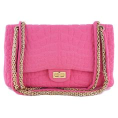 Pre-Owned Chanel Pink Crocodile Print Reissue Flap (84.705 RUB) ❤ liked on Polyvore featuring bags, pink, hardware bag, quilted chain bag, strap bag, holographic bag and chanel bags
