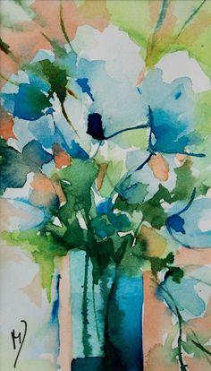 Petit instant N°197 (Peinture),  8x14 cm par Véronique Piaser-Moyen Aquarelle originale sur papier 300 G