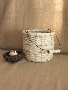 Rustic French Country Flower Girl Basket / Shabby Farmhouse Bucket Basket in French Vanilla. $20.00, via Etsy.