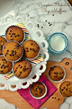 These pumpkin chocolate chip muffins are the perfect fall breakfast or snack or even dessert.  I use half whole wheat flour to make them dense and nutritious.  And they're delicious and easy!  via lifeingrace