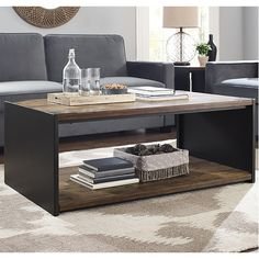Limoges Steel Plate and Wood Coffee Table