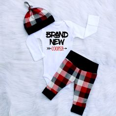 Brand New Buffalo Plaid Newborn Take Home Outfit by BerryBestTees