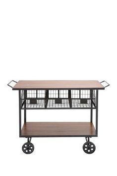 Metal Wood Basket Cart by UMA Enterprises Inc. on @HauteLook - Laundry Room.  Would make a great folding table.
